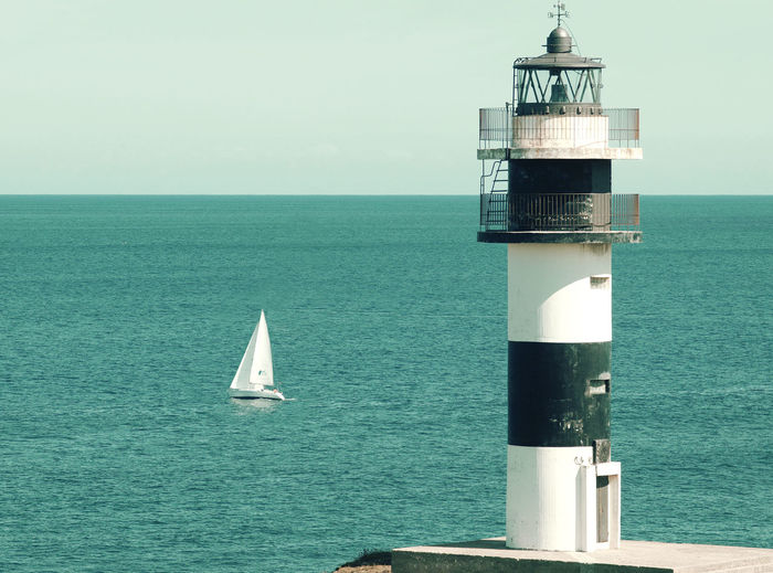 Lost...? Boating Guidance Lighthouse Outdoors Sailboat Sailing Sea Seascape Tower Water