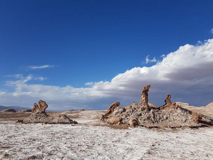Tres Marias Valle de la Luna Geology Geological Formation Salt Flat Valle De La Luna Tees Marias Moon Valley Salt Bassin Atacama Chile Arid Climate Desert Sky Cloud - Sky Semi-arid Barren Arid Landscape Arid Salt Basin Salt - Mineral