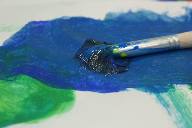 Paint brush Blue Paint Canvas Colors Paint Brush Close-up Focus On Foreground Indoors  No People