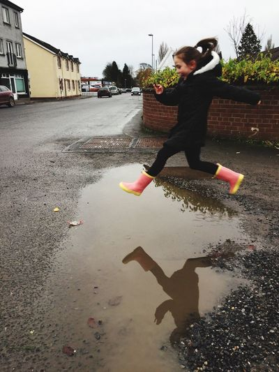 Jumping in puddles Outdoors Jumping Athy Ireland First Eyeem Photo