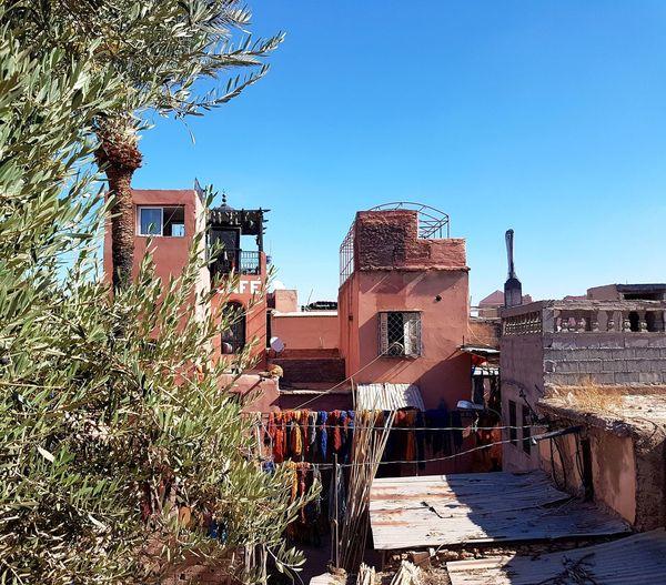 Marrakesh❤ Clear Sky No People Travel Terrace Dyer´s Souk Moroccan Style Travel Destinations Maroc ❤️ Morocco Marrakech Building Exterior
