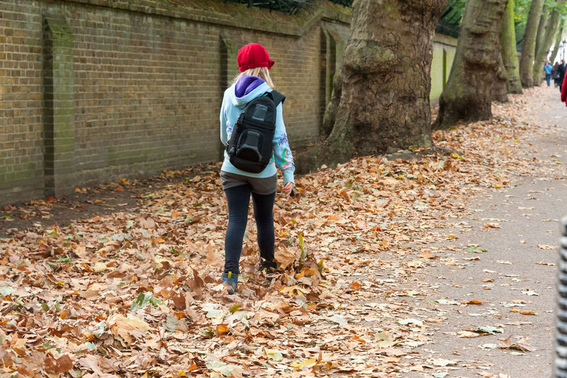 Rear view of man walking on street during autumn