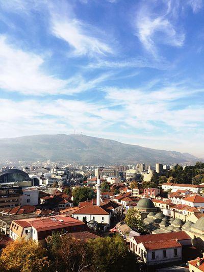 Skopje View Cityscape Mazedonia Vodno Mountain Millennium Cross