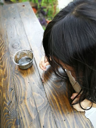 High angle view of woman staining wooden table
