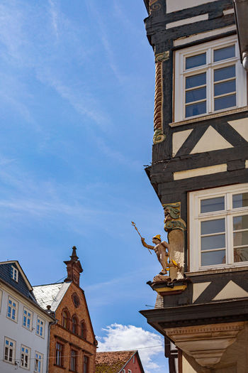 Architecture Building Exterior Built Structure Building Sky Low Angle View No People Cloud - Sky Day Nature Window City Blue Representation Sculpture Art And Craft Animal Representation Residential District Statue Old Outdoors Fachwerkhäuser Marburg Oberstadt Schönes Wetter