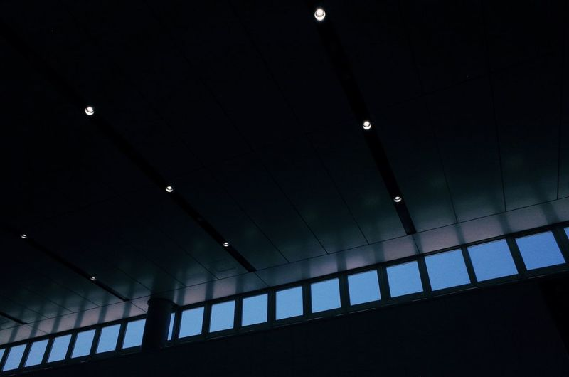 Architecture Building Built Structure Ceiling Dark Domestic Room Glowing Illuminated In A Row Indoors  Light Lighting Equipment Low Angle View Night No People Pattern Railing Wall - Building Feature Window