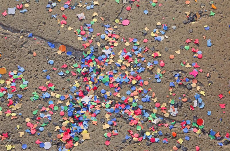 Close-up of multi colored confettis