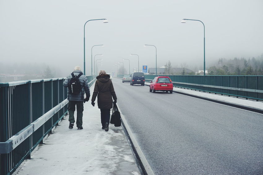 Svinesund bridge, the border between Norway and Sweden Winter Business Finance And Industry Fog Rear View Snow Car Cold Temperature People Snowing Adults Only Outdoors Adult Day Business Svinesund Svinesund Bru Border Bridge Norway Sweden People And Places Traffic Tourist Tourist Attraction  Walking