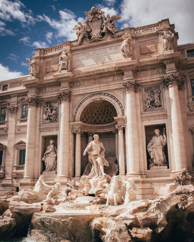 Sculpture Architecture Statue Art And Craft Representation History The Past Built Structure Human Representation Building Exterior Travel Destinations Creativity Sky Male Likeness Tourism Craft Travel Cloud - Sky Ancient Low Angle View Architectural Column No People Ancient Civilization Outdoors Carving Trevi Fountain Rome Rome Italy TreviFountain Fountain Trevi Fontanaditrevi Fontana Roma Italia