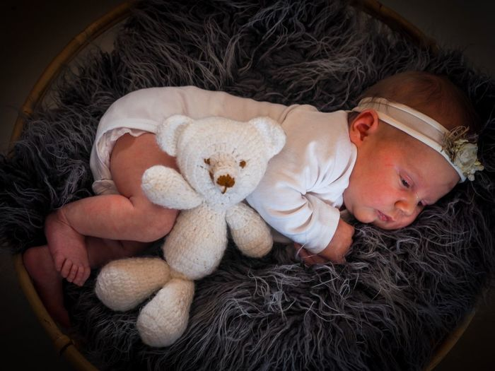 newborn baby girl 2 weeks Artistic Schabby Chic Sweet Baby Girl Newborn Childhood Stuffed Toy Teddy Bear Indoors  Toy One Person Innocence Real People Babyhood Sleeping Home Interior Lying Down Cute Portrait Child Close-up Day Relaxation Bed