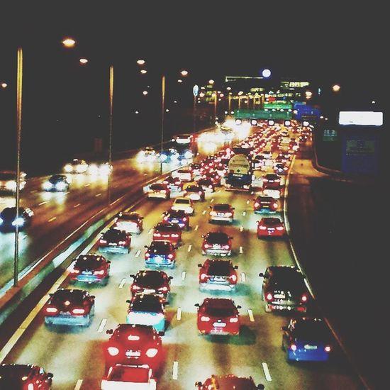 Stockholm Traffic Blackandwhite Highway