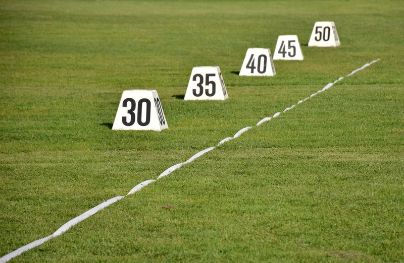 Numbers by marking on playing field