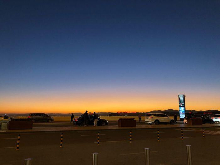 Sky Sky Sky Sunset Transportation Copy Space Mode Of Transportation Land Vehicle Road City Nature Clear Sky