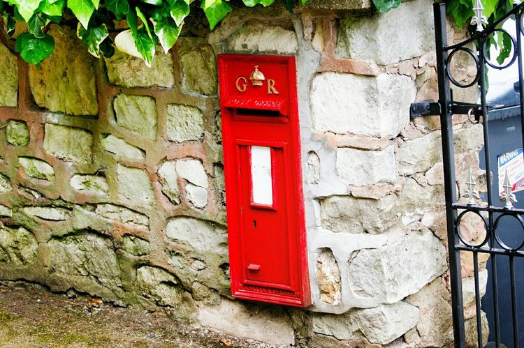 Post Box  Letter Box Red Door Built Structure No People Day Architecture Communication Outdoors Wall Wall - Building Feature Garden Wall Close-up