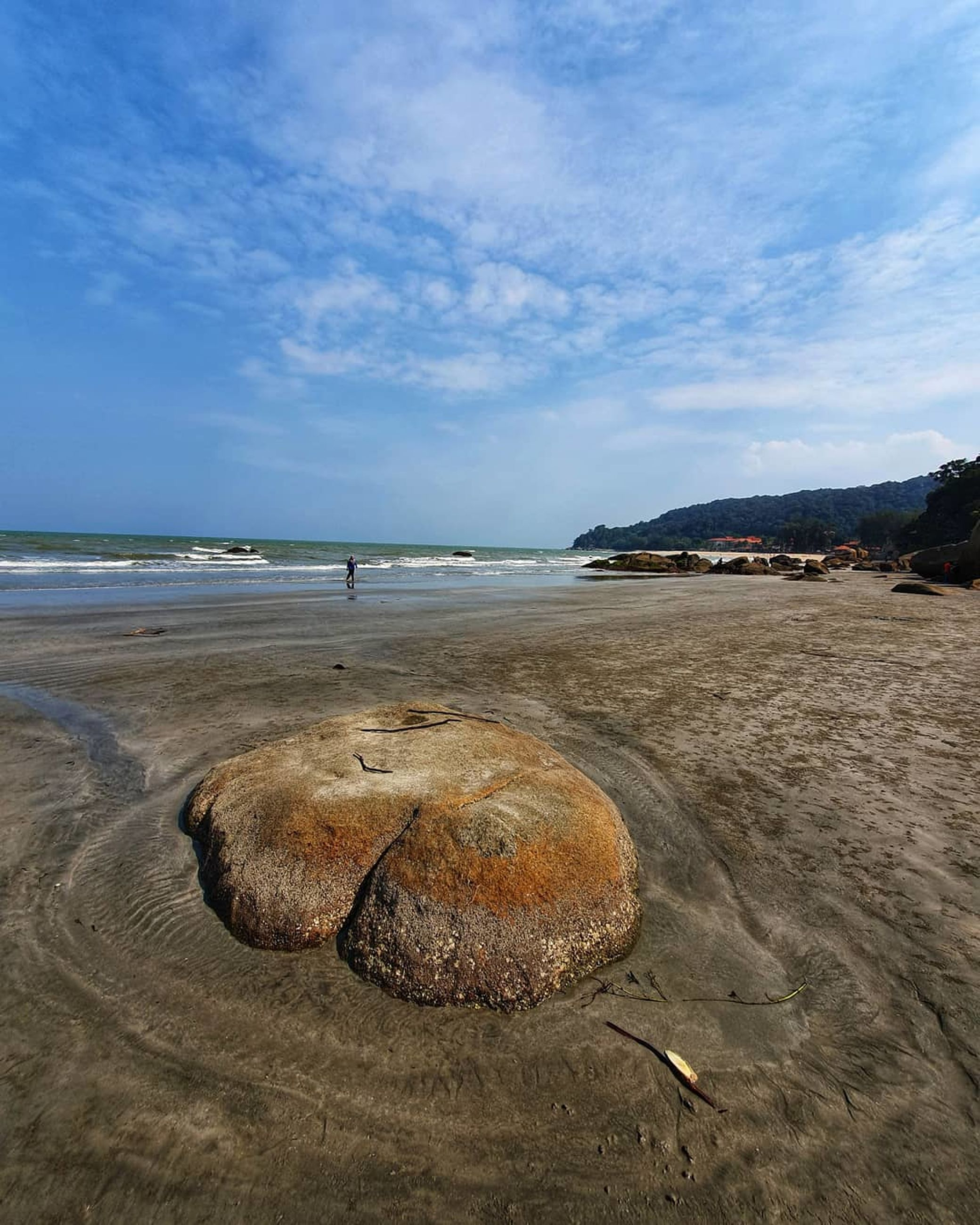 sea, water, beach, sky, land, beauty in nature, scenics - nature, tranquility, cloud - sky, nature, tranquil scene, rock, horizon over water, solid, sand, day, horizon, rock - object, non-urban scene, no people, outdoors