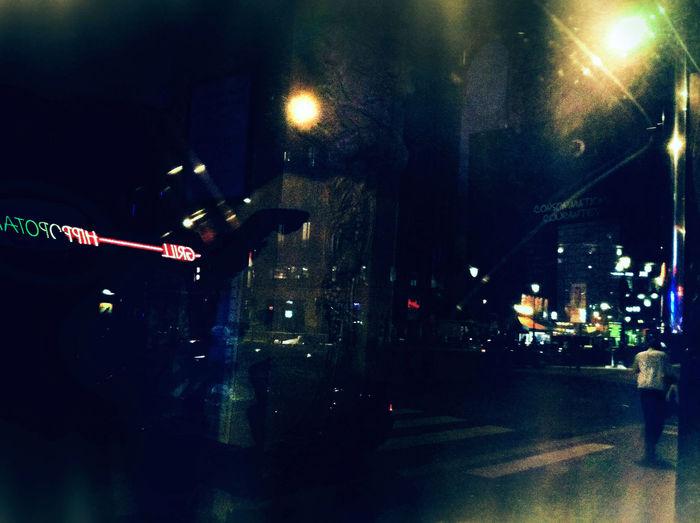 Street light in city at night