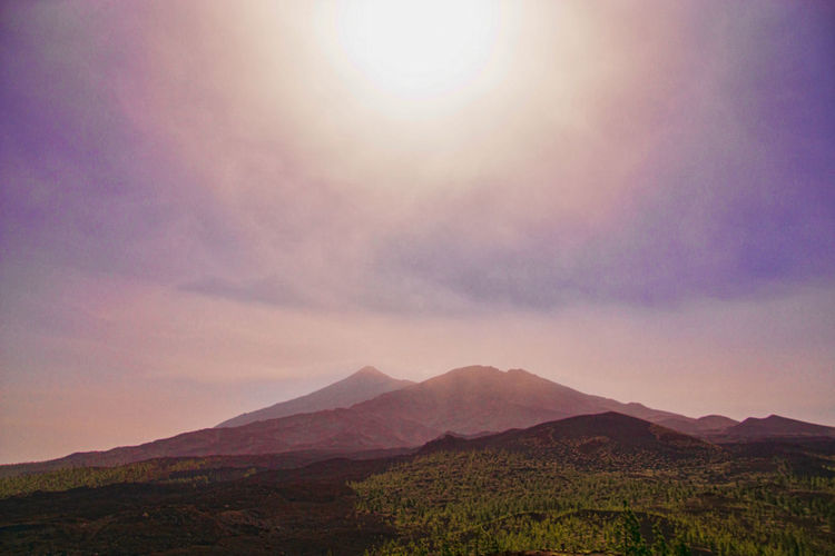 View towards the the peaks of mount teide on tenerife