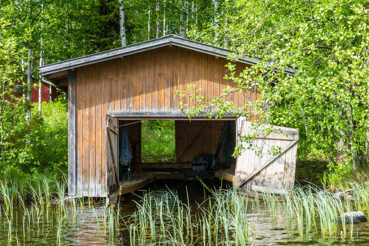 Old boat deck with beautiful summer day and sunlight in Finland Plant Tree Water Forest Nature Architecture Built Structure Wood - Material Outdoors Lake Hut Building Exterior Non-urban Scene WoodLand Tranquility Day No People Growth Boat Deck Retro Vintage Sunlight Summer Landscape Finland