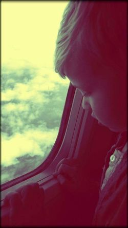 In the air One Person Child Boy AirPlane ✈ Cloads Sky And Clouds