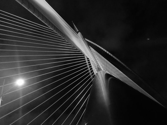 Connection No People Bridge Bridge - Man Made Structure Built Structure Architecture Night Cable Illuminated Cable-stayed Bridge City Sky Steel Cable Low Angle View Outdoors Travel Destinations Transportation