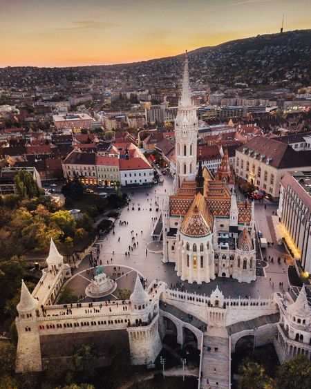 High Angle View Of Matthias Church In City