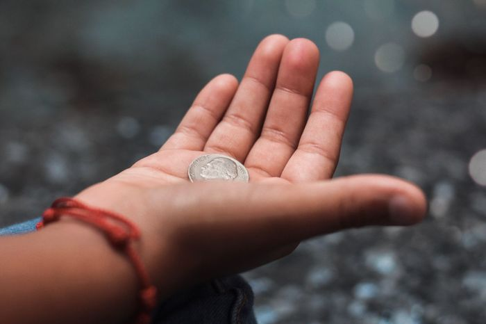 Alms Giving Wish Make A Wish Human Hand Hand Human Body Part One Person Finance Close-up Holding Coin
