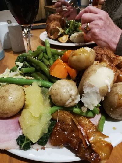 Enjoying a lovely meal out for my birthday Carvery Beef Ham Potatoes Parsnip Beans Carrots Plate Vegetable Healthy Lifestyle Table Dumpling  Close-up Food And Drink Gravy