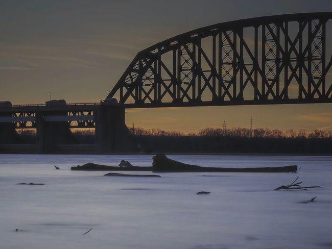 Train bridge to Louisville Kentucky Bridge - Man Made Structure Sunset River Architecture Sky Built Structure Winter No People Railway Bridge Water Traveling Travel Photography Lumix Lumixlounge GX8 Blue LUMIX_GX8 GX8