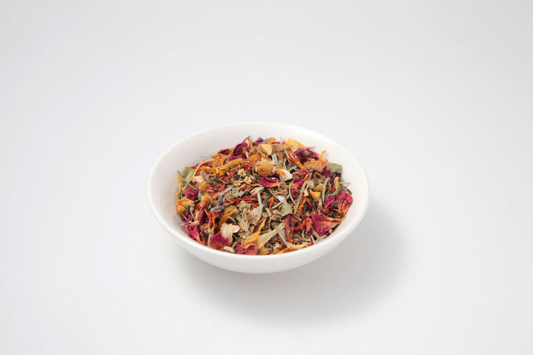 Aroma Aromatherapy Aromatic Plants Bowl Close-up Colorful Copy Space Drink Flowers Freshness Healthy Eating Healty Herb Herb Tea Herbal Leaved Natura Nature No People Plant Relax Studio Shot Tea Leaves Tea Tme White Background