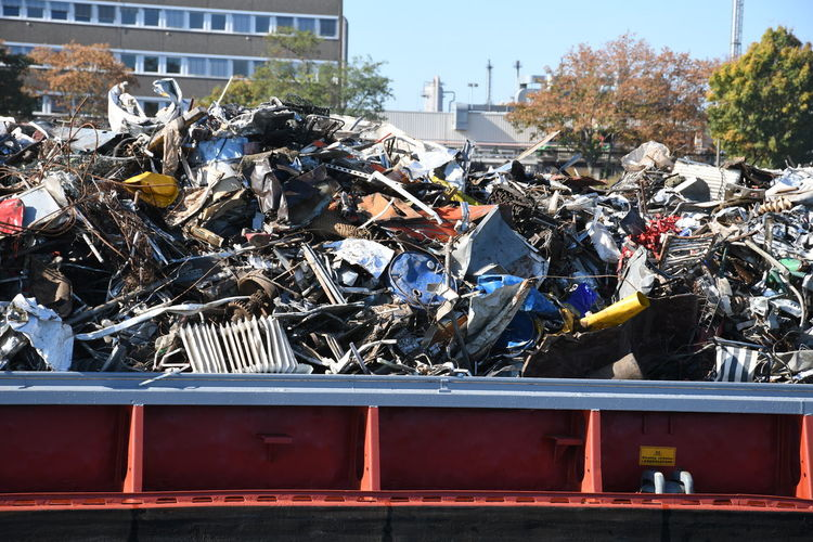 Stack of garbage on metal structure