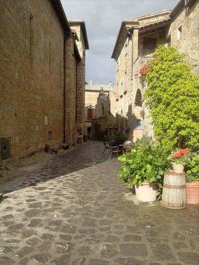 Alley Ancient Architectural Buildings Architecture Built Structure Civita Di Bagnoregio Cloudy Sky Diminishing Perspective Narrow Plants Shadows Sky The City That Is Dying Town Tuff Tufo Vegetation Walkway World Monuments Fund