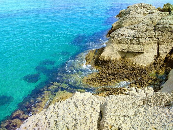 High angle view of rocks at beach