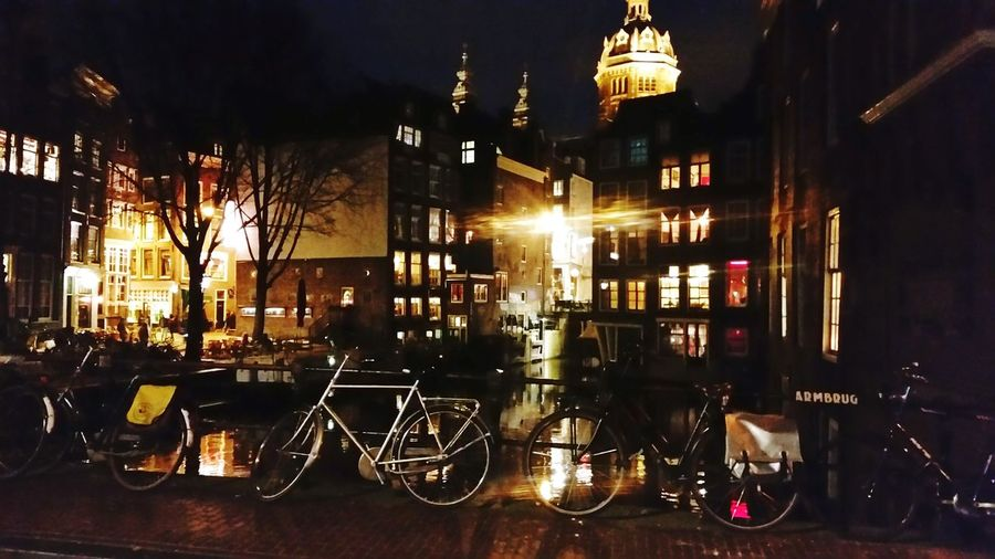 Night Bicycle Amsterdam City No People Beautiful Place ♥ The Week On EyeEm EyEmNewHere Water Tranquillity Lights And Shadows