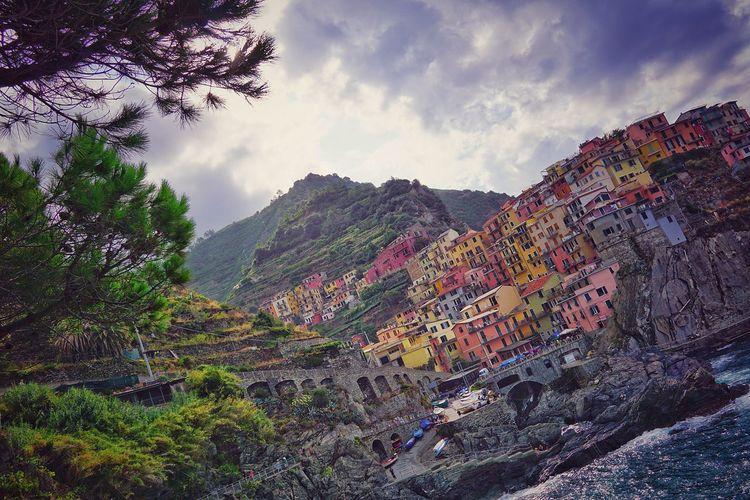 Italy Liguria Tree Mountain Multi Colored Sky Cloud - Sky Mountain Range Scenics Idyllic Calm Beauty In Nature Blooming Rocky Mountains