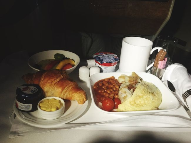 In flight breakfast Business Class In Flight Plate Food Food And Drink Croissant Breakfast Indoors  Egg Drink Ready-to-eat No People Bread Fried Egg Freshness Sausage
