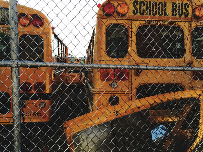 School buses in parking lot seen through chainlink fence