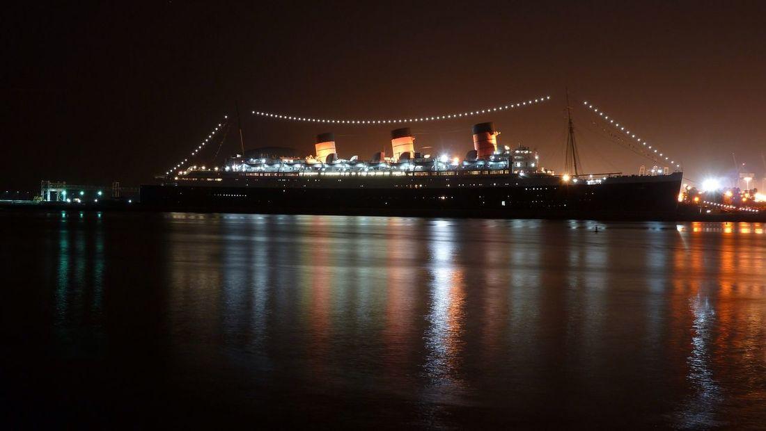 Queen Mary Long Beach, California USA  Night Photography Ship