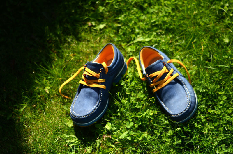 Very selective focus on colorful shoes Colors Grass Objects Shoes ♥ Blue Colorful Isolated On The Grass Lifestyle Photography No People Outdoors Selectiva Focus Shoelace Soft Focus Still Life
