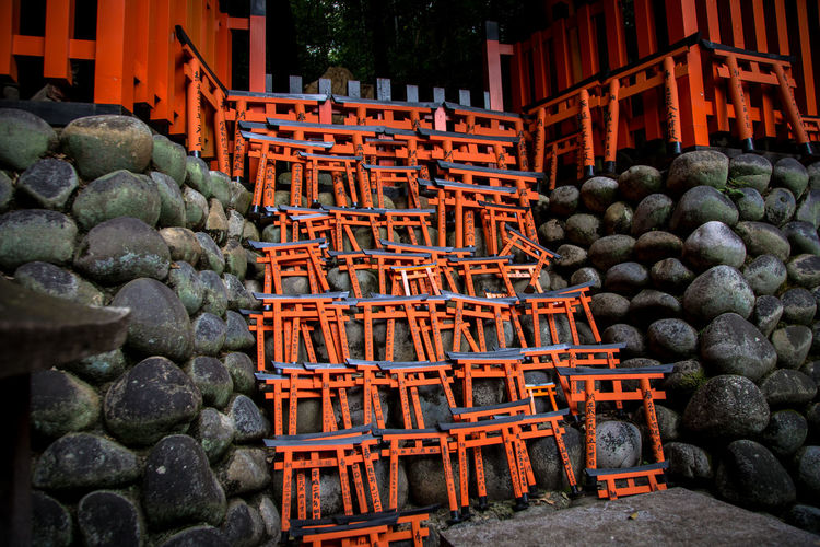Fushimi Inari-taisha Shrine in Kyoto Japan Fushimi Inari-taisha Shrine Abundance Architecture Building Exterior Built Structure Day Food Freshness Kyoto Large Group Of Objects Market No People Outdoors Stack