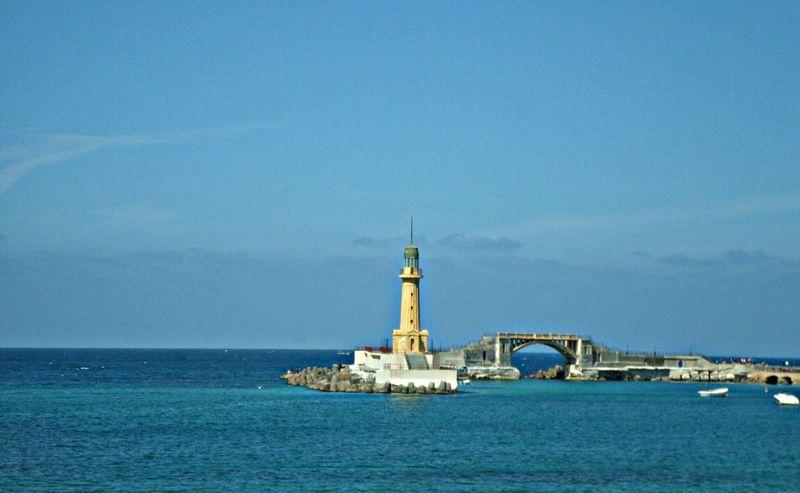 Blue Sea Sky Lighthouse Alexandria Egypt