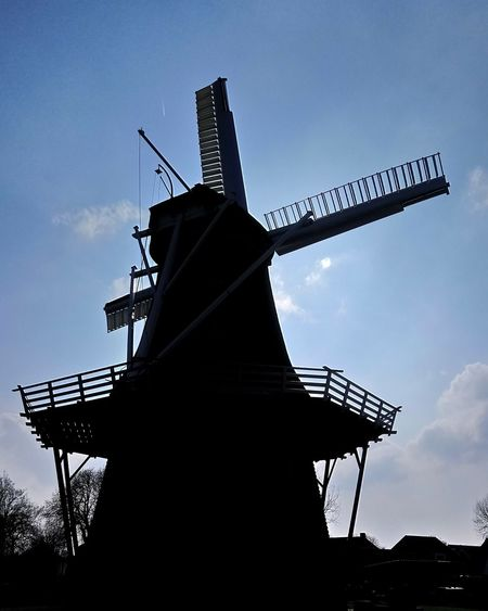 Silhouette Sky Blue Sky Shadow Old Buildings Tradional Dutch Wind Windmill Wind Power City Wind Turbine Traditional Windmill Rural Scene Sky Architecture Built Structure Cloud - Sky Mill Outline Sunset Sun