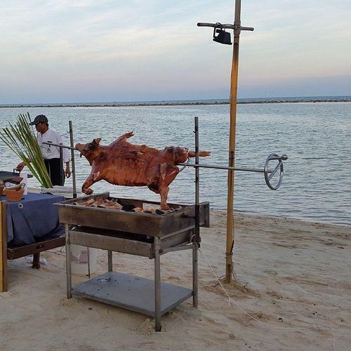 Roast Pig on the beach Thailand Kosamui