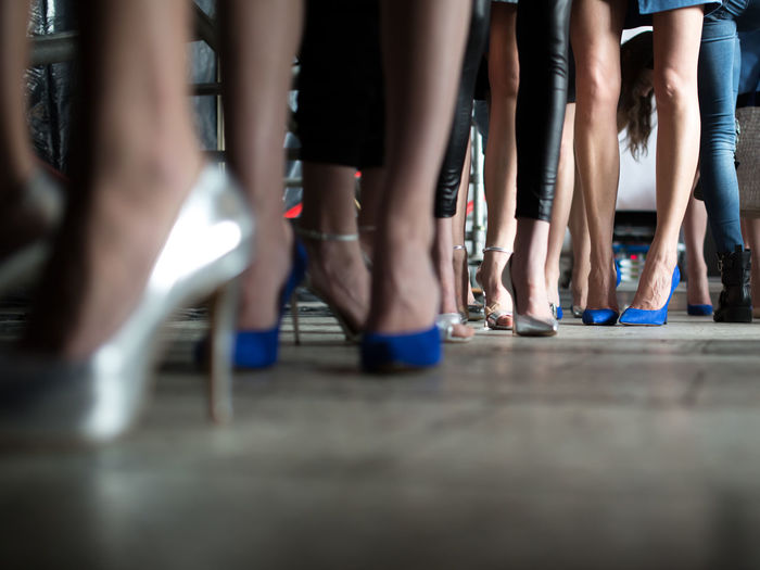 Models in stilettos at backstage