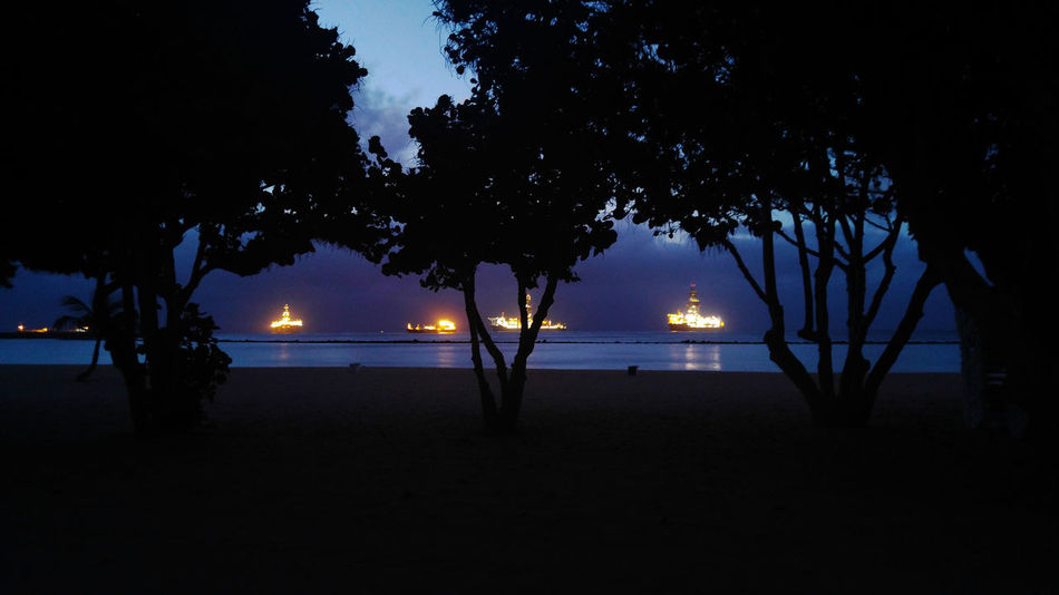 Las Teresitas Sea Lights Beach Dusk Illuminated Night No People Outdoors Petrol Station Sea Silhouette Tranquility Tree