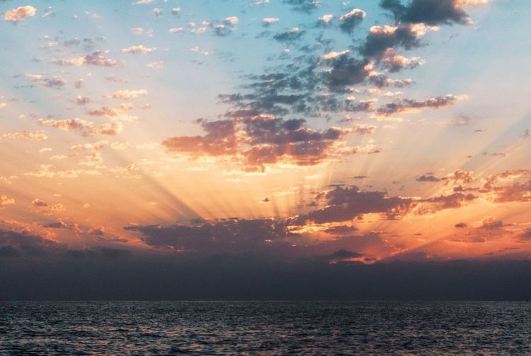 Sunrise over the sea EyeEm Ready   EyeEmNewHere Canon Romantic Outdoors Horizon Over Water Horizon No People Tranquility Scenics Beauty In Nature Nature Sun Water Sea Sunset Clouds Sky Capture Tomorrow