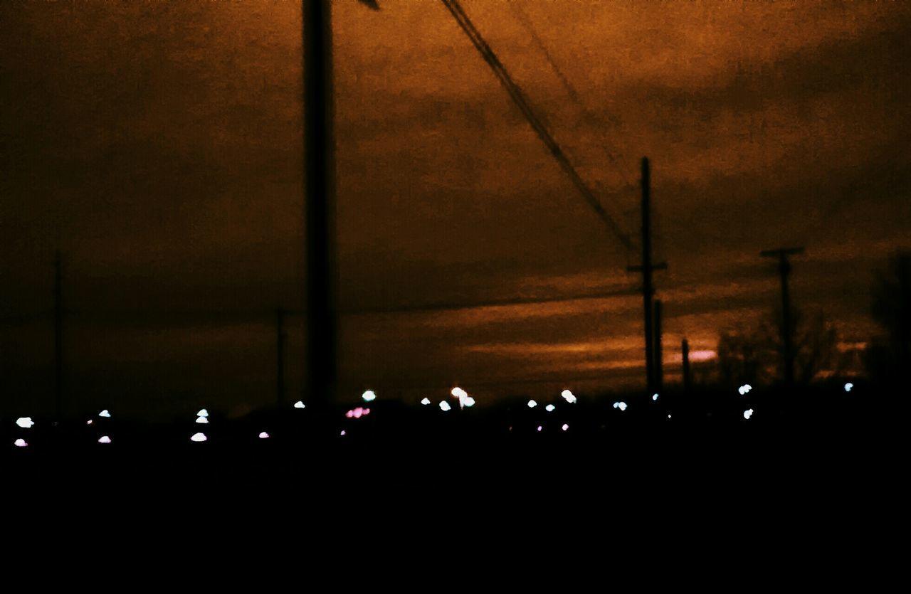 night, illuminated, silhouette, outdoors, no people, nature, sky