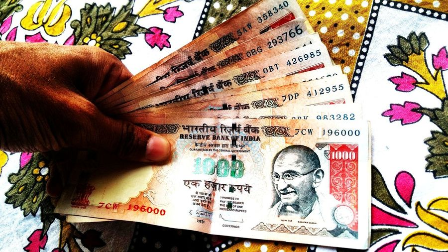 Beautifully Organized Human HandHuman Hand Human Body Part Text One Person Human Body Part Text One Person People Day Indian Money Gandhi ₹1000 Many