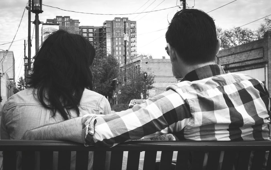 Couple on Bench Real Life Trust Sociology Psychology Outdoors Black And White Caring Togetherness Sitting On Bench Sitting Together Couple Two People Togetherness People Day Women Friendship Real People