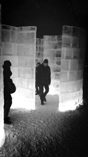Ice Labyrinth Blackandwhite Winter White By CanvasPop