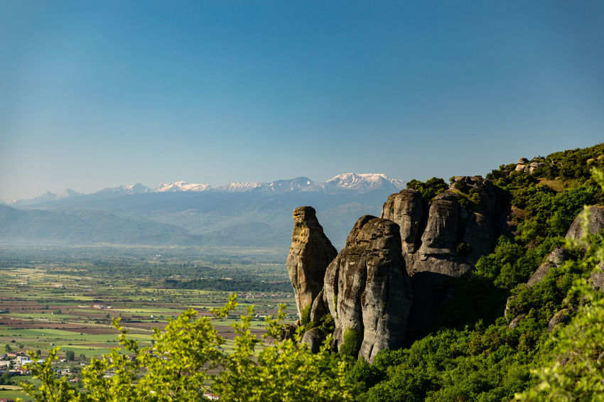 Mountain landscapes at Meteora in Greece Landscape Photography Meteora Rock Formation Beauty In Nature Clear Sky Day Environment Greece Greek Landscape Landscape Meteora Greece Mountain Mountain Peak Mountain Range Nature Non-urban Scene Outdoors Scenics - Nature Tranquil Scene Tranquility